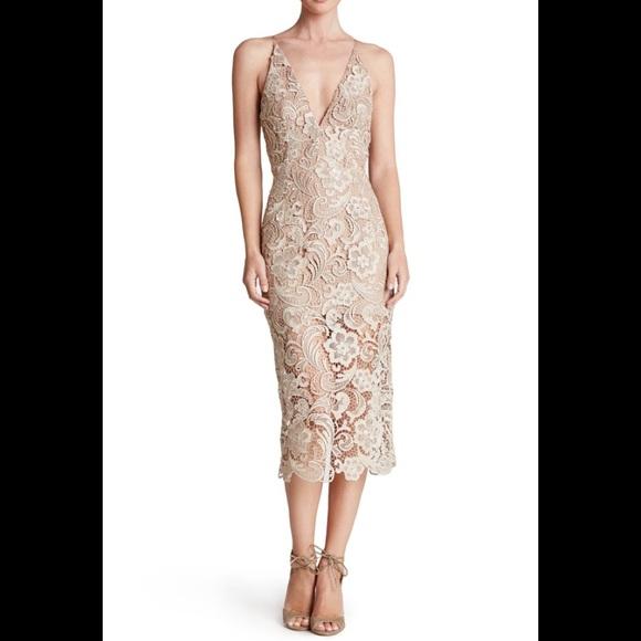 72da711c224 Dress the population Marie lace crochet midi dress